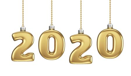 New 2020 Year Gold Baubles Isolated on White Background. New Year Decoration. 3D Illustration. Stockfoto