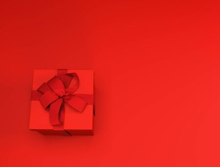 Red Present Box on Red Background. Red Christmas Card. 3D Illustration.