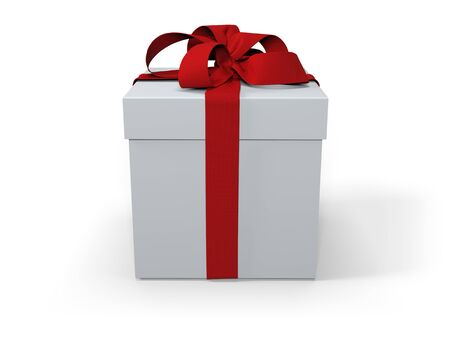 White Present Box with Red Ribbon and Bow Isolated on White Background. 3D Illustration.