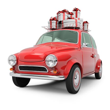 Small Retro Red Car with Present Boxes on Top Isolated on White Background. Cristmas Gifts Concept Image. 3D Illustration.