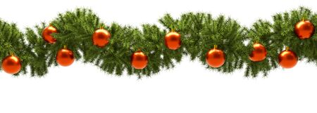 Fir Tree Green Branches with Red Decoration Balls Christmas Banner with White Background. 3D Illustration.