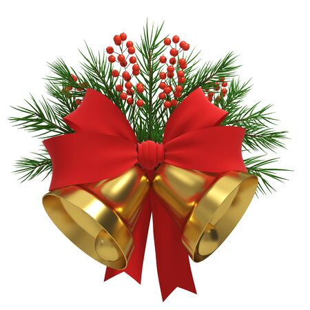 Gold Christmas Bells with Green Fir Tree Branches, Red Bow and Berries Isolated on White Background. Winter Holidays Decoration. 3D Illustration.