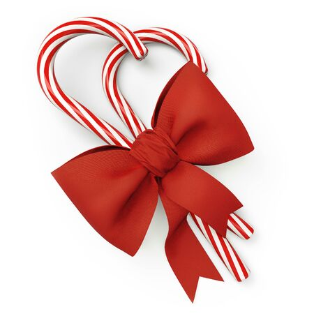 Red and White Candy Canes with Red Bow on White Background. Christmas Decoration. 3D Illustration.