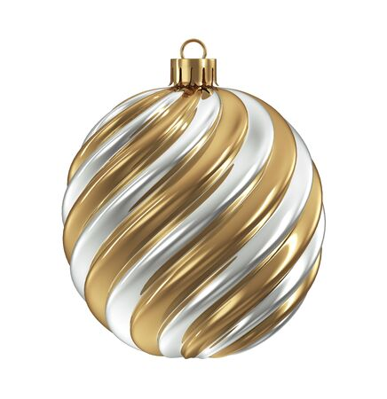 Gold and Silver Christmas Decoration Ball with Twisted Pattern on White Background. 3D Illustration. Stockfoto