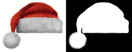 Christmas Santa Claus Furry Hat Isolated on White Background with Black and White Alpha Mask. 3D Illustration. Banco de Imagens