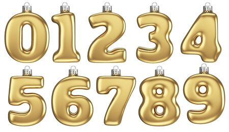 Gold Numbers Baubles Isolated on White Background. Christmas Decoration. 3D Illustration.