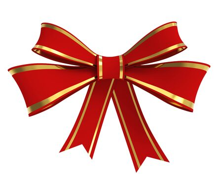Red Ribbon Bow with Golden Stripes Isolated on White Background. Christmas Decoration. 3D Illustration.