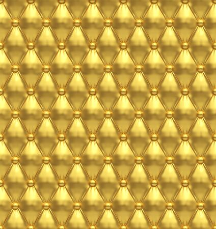 Seamless Golden Chesterfield Style Soft-tufted Buttoned Upholstery Wall Texture. Luxury Gold Background. 3D Illustration.