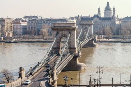 The Szechenyi Chain Bridge over the River Danube between Buda and Pest, Budapest, Hungary.