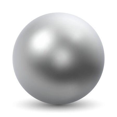 Chrome Ball Realistic Vector Illustration Isolated on White Background. Stock Illustratie