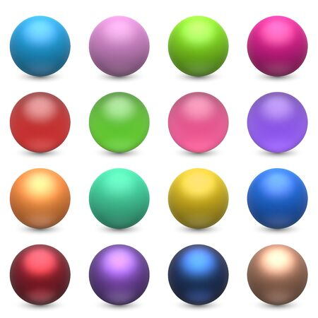 Color Balls Set Isolated on White Background. Colorful Spheres Collection. Vector Illustration.