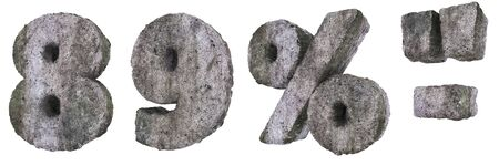 Abstract Old Concrete Figures and Signs Isolated on White Background. Stone Figures 8, 9, and Percent, Dash and Quotes Sign 3D Illustration.