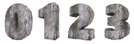 Abstract Old Concrete Figures Isolated on White Background. Stone Figures 0, 1, 2, 3 3D Illustration. Stockfoto