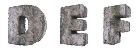 Abstract Old Concrete Letters Isolated on White Background. Stone Letters D, E, F 3D Illustration.