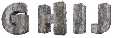 Abstract Old Concrete Letters Isolated on White Background. Stone Letters G, H, I, J 3D Illustration. Stockfoto