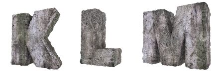 Abstract Old Concrete Letters Isolated on White Background. Stone Letters K, L, M 3D Illustration.