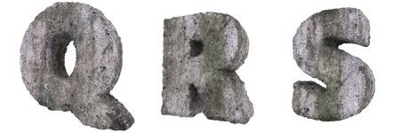 Abstract Old Concrete Letters Isolated on White Background. Stone Letters Q, R, S 3D Illustration.
