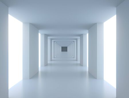 Abstract Long White Modern Corridor Illuminated with Side Gaps. Modern Interior Background. 3D Illustration.