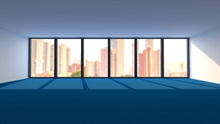 Large Empty Office Room with Blue Carpet Flooring and Panoramic Window. 3D Illustration.