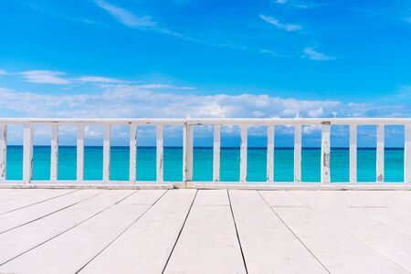 White Wooden Terrace with Beautiful Sea View. Summer Tropical Background.