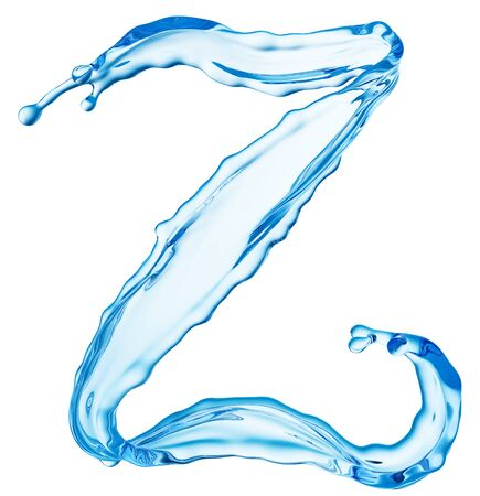 Clean Blue Water Splash Shaped in Form of Letter Z Isolted on White Background. Drinking Water Advertising Design Template. 3D Illustration.