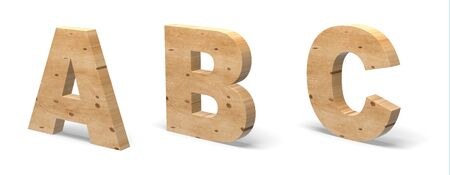 3D Letters A, B, C, Cut out of Wood Isolated on White Background. Wooden Text Template. 3D Illustration. Banco de Imagens