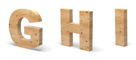 3D Letters G, H, I, Cut out of Wood Isolated on White Background. Wooden Text Template. 3D Illustration. Banco de Imagens