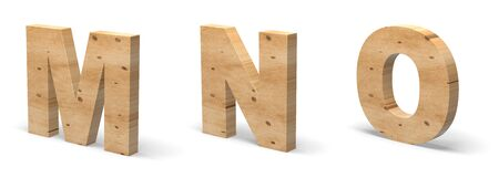 3D Letters M, N, O, Cut out of Wood Isolated on White Background. Wooden Text Template. 3D Illustration.
