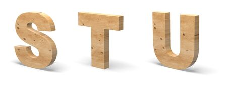 3D Letters S, T, U, Cut out of Wood Isolated on White Background. Wooden Text Template. 3D Illustration.