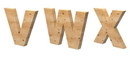 3D Letters V, W, X, Cut out of Wood Isolated on White Background. Wooden Text Template. 3D Illustration.