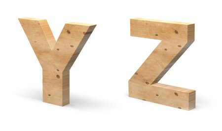3D Letters Y, Z Cut out of Wood Isolated on White Background. Wooden Text Template. 3D Illustration.