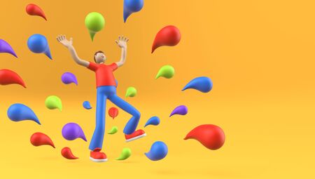 Abstract Man in Excited Pose with Happy Expression among Color Paint Drops. Cartoon Simplified Character with Exaggerated Features. 3D Illustration.