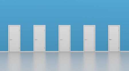 Five Closed White Doors with Blue Wall. Choice or Decision Making Concept Image. 3D Illustration.