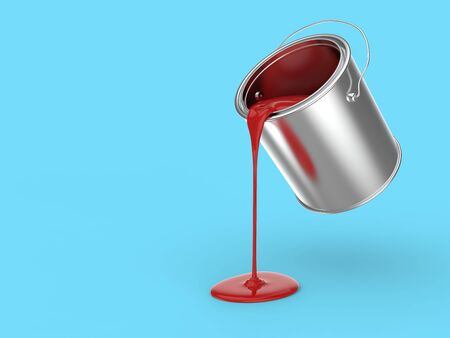 Steel Paint Bucket Pouring Red Paint on the Surface on Cyan Background. Renovation Background. 3D Illustration.