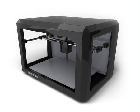Impresora 3D aislada sobre fondo blanco. Ilustración 3D.