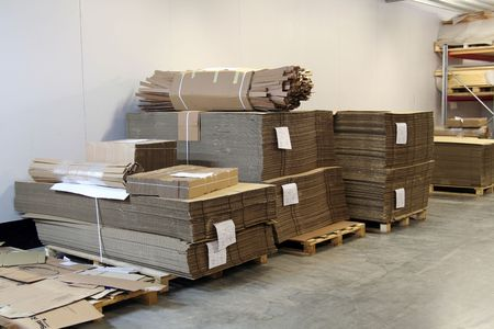 new packages in warehouse Stock Photo