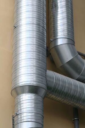 Metalen ventilatiekanalen Stockfoto