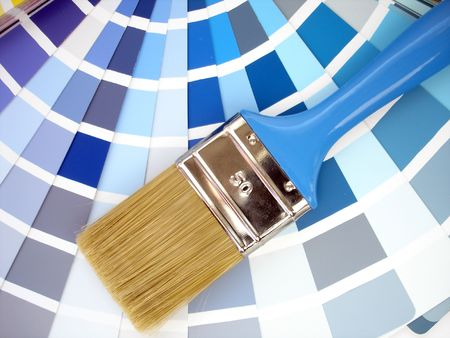 Paintbrush and colour samples
