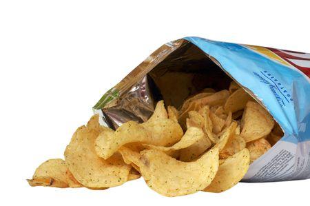 nibbling: Pile of potato chips spilling from bag