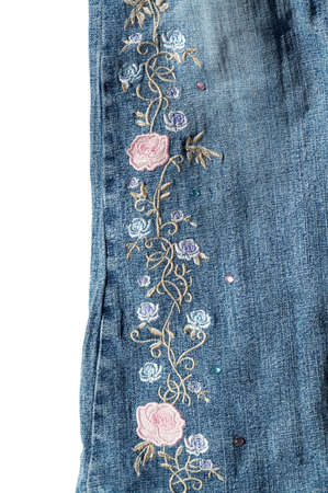 mooie blauwe jeans van katoen met borduurwerk