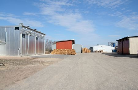 lumber warehouses and timber drier territory in perspective view Stock Photo - 858600