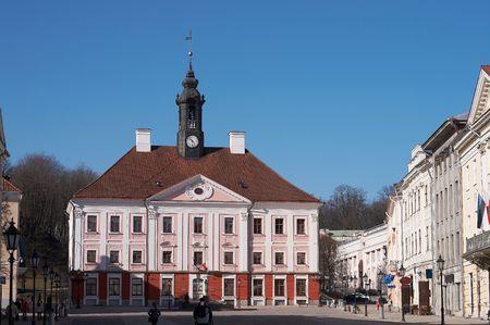 Old beautiful townhall in Tartu, Estonia, early springtime Stock Photo