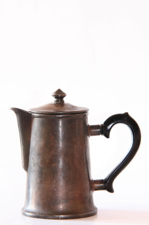 coffeepot: Old silver coffeepot on a white background