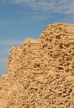 A pile of wooden sticks against blue sky Stock Photo - 873704