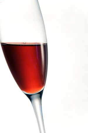 A glass of red wine white backround