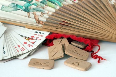 Furtune Teller's runes and cards with old flabellum Stock Photo - 884402