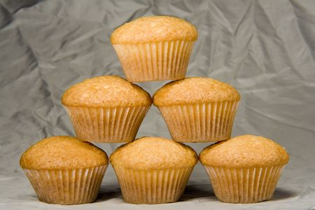 Stack of muffins straight from the oven