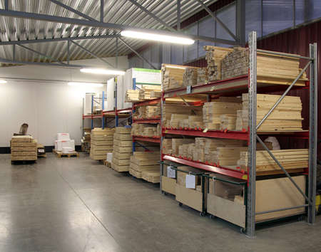 warehouse view with packages pallets and storage shelfs Stock Photo - 1631701