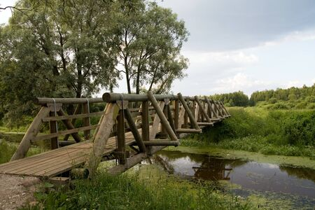 New wooden bridge over river Stock Photo - 1631710