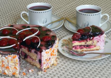 chocolate peak: Delicious birthday cake with blueberries and raspberries
